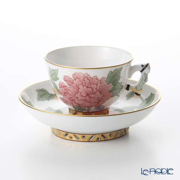Herend Peony with Butterfly / Paresseuses Vacances Fournissent Puissance PVFP-X1 03371-0-21 Pink Mocha Cup & Saucer (Mandarin handle / openwork) 100ml