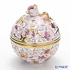 Herend 'Wine Red & Gold Flower' C6 06214-0-09 Openwork Ball Box (Rose knob) 8xH9.5cm