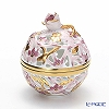Herend 'Wine Red & Gold Flower' C6 06215-0-09 Openwork Ball Box (Rose knob) 6.5xH7.5cm