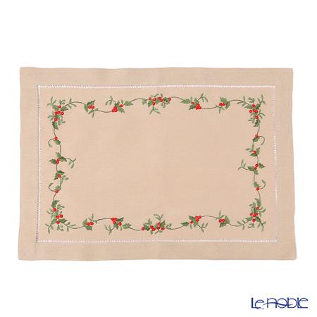 ベトナム刺繍ナプキン NM861 クリスマスアイビー(ベージュ) 33×48cm
