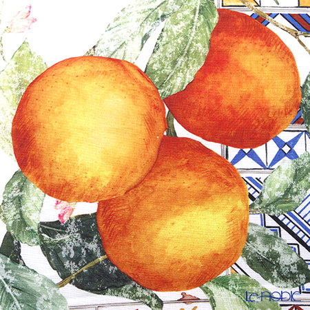 Tessitura Toscana Telerie社 キッチンタオル リネン100%アズレージョ オレンジ 50×70cm