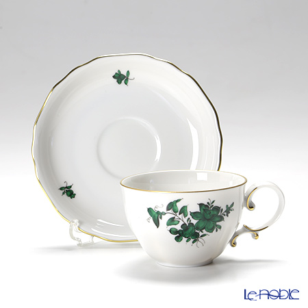 Augarten 'Maria Theresia - Narcissus' Green [Mozart shape] Mocha Coffee Cup & Saucer 100ml