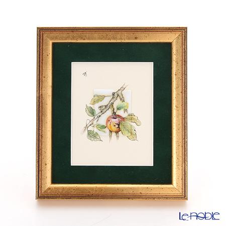 ヘレンド MID-10 08193-0-00 陶板(リンゴと昆虫) 4.5×3.5cm