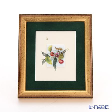 ヘレンド MID-9 08193-0-00 陶板(サクランボと蝶) 4.5×3.5cm