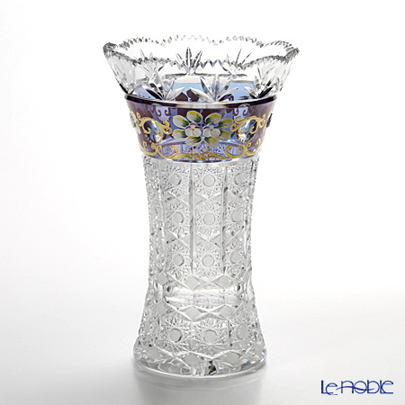 ボヘミア ブルーラスター ハイエナメル ベース(花瓶) 25.5cm