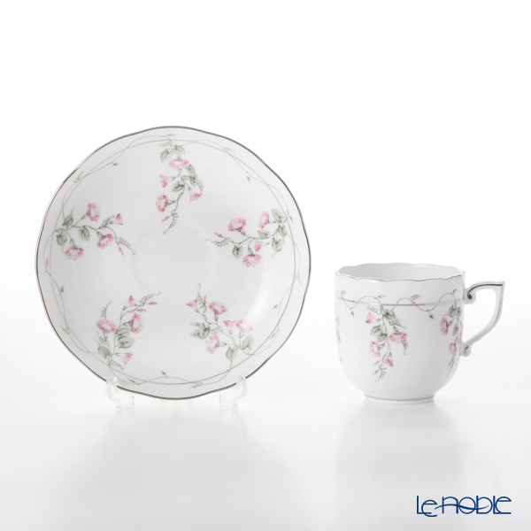 Herend 'Morning Glory Pink Platinum / Nyon' NYVT1-PT 20707-0-00 Mocha Coffee Cup & Saucer 150ml
