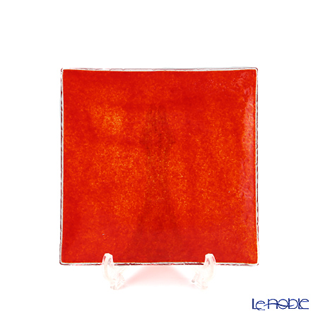 Modern Bohemia 'Snail' Opaque Red Square Plate 14.5x14.5cm