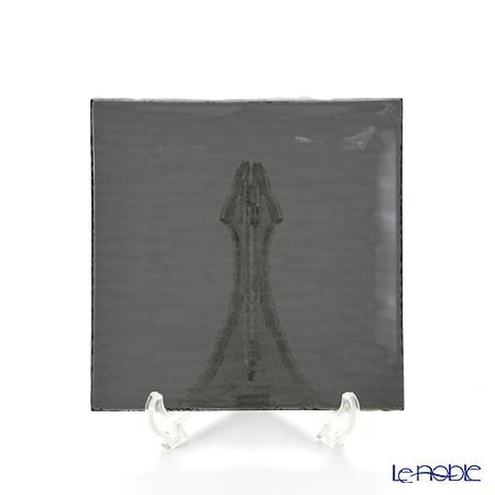Modern Bohemian snail square plate Black cm/6 14.5 x 14.5