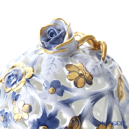 Herend C7 06215-0-09 Dark Blue + Gold Ball shape Openwork Bonbonniere (Rose) H8cm