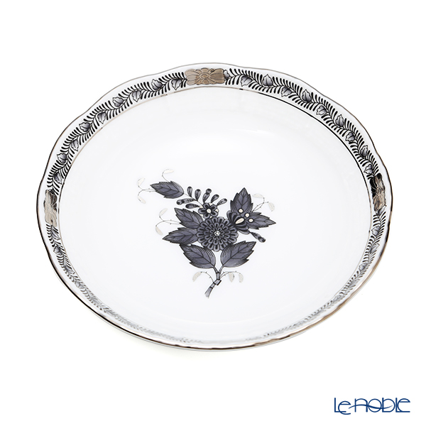 Herend 'Chinese Bouquet Black / Apponyi' Platinum ANG-PT 00704-1-00 Fruit Bowl 13.5cm