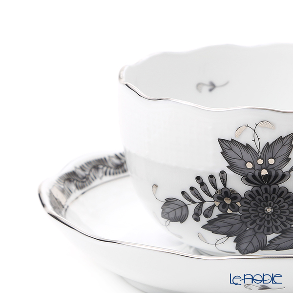 Herend 'Chinese Bouquet Black / Apponyi' Platinum ANG-PT 00724-0-00 Teacup & Saucer 200ml