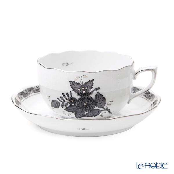 ヘレンド アポニーブラックプラチナ ANG-PT ティーカップ&ソーサー 200ml/00724-0-00
