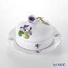 Herend 'Sisi Violet' Lilac VIOLETL 00394-0-09 Petit Beurrie / Covered Butter Dish (Rose knob) 12.5cm