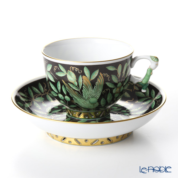 Herend 'Zoo Garden Black & Green / Jardin Zoologique' ZOVA-FN 03364-0-21 Tea Cup & Saucer (Mandarin handle / openwork) 200ml