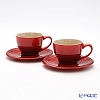 Le Creuset (LeCreuset) stoneware Cappuccino Cup & Saucer 0.2 L red pair