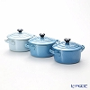 Le Creuset Mini-Cocottes/Mini Round Casseroles 10 cm, blue gradation (Set of 3), stoneware
