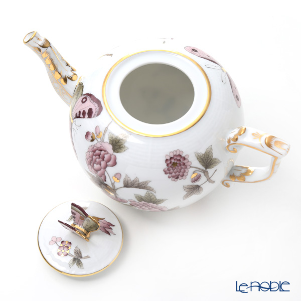 Herend 'Royal Garden Butterfly Flower Dark Pink & Brown / Email Victoria'VICT2 00606-0-17 Tea Pot (Butterfly knob) 800ml