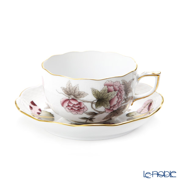 Herend 'Royal Garden Butterfly Flower Dark Pink & Brown / Email Victoria' VICT2 00724-0-00 Tea Cup & Saucer 200ml