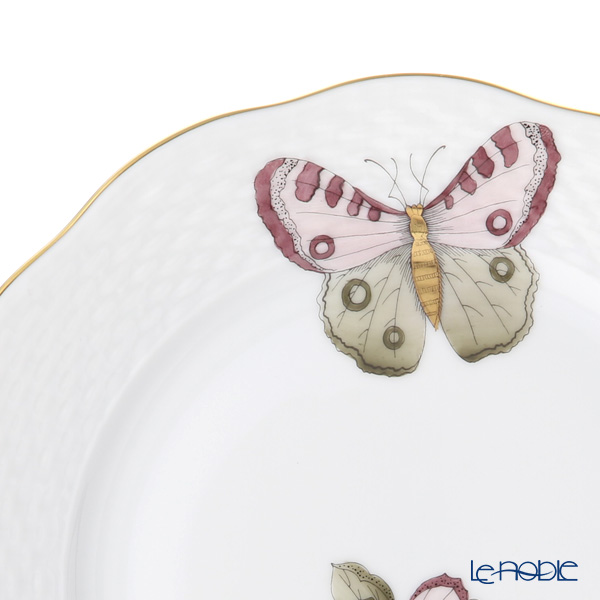 Herend 'Royal Garden Butterfly Dark Pink & Brown / Email Victoria Papillon' VICTP2 00517-0-00 Plate 19cm