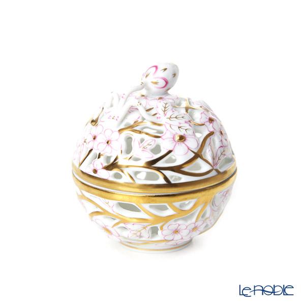 Herend 'Pink Flower' CORP 06215-0-11 Openwork Ball Box (Strawberry knob)