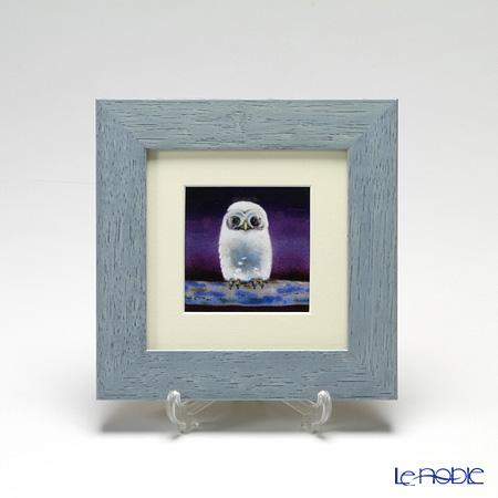 京七宝額(アートSHIPPO) ふくろう 紫 額ライトブルー 17.8×17.8cm