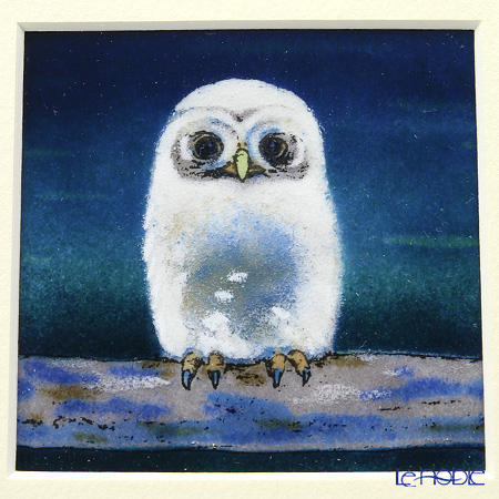 Enamel Cloisonne / Kyoto Shippo Art 'Owl - Light Blue' Panel / Plaque 18x18cm