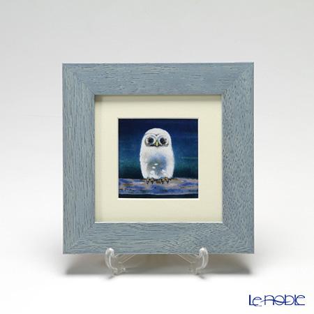 京七宝額(アートSHIPPO) ふくろう 青 額ライトブルー 17.8×17.8cm
