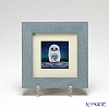 京七宝額(アートSHIPPO)ふくろう 青 額ライトブルー 17.8×17.8cm