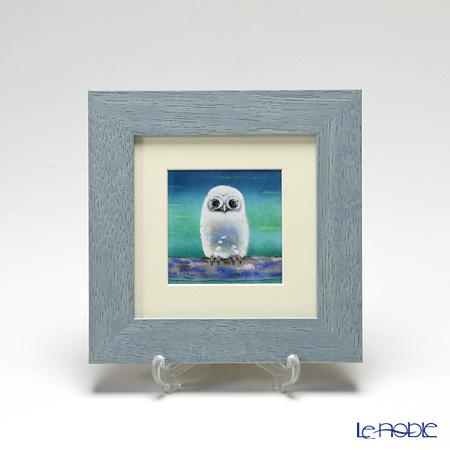 京七宝額(アートSHIPPO) ふくろう 緑 額ライトブルー 17.8×17.8cm