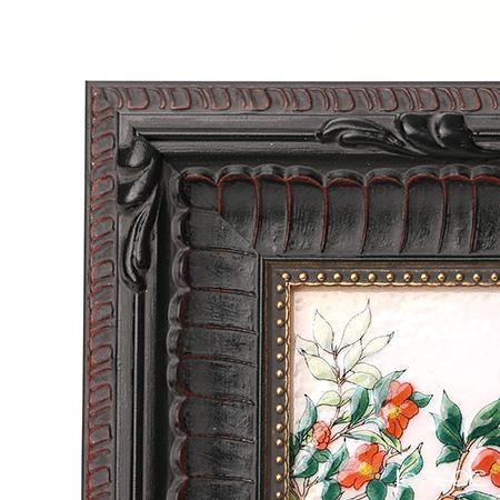 Enamel Cloisonne / Kyoto Shippo Art 'Camellia' Panel / Plaque 16.5x16.5cm