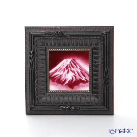 Enamel Cloisonne / Kyoto Shippo Art 'Red Mt. Fuji' Panel / Plaque 16.5x16.5cm