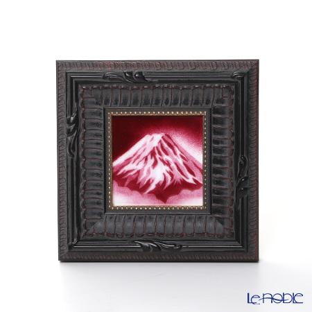 京七宝額(アートSHIPPO) 赤富士 額16.5×16.5cm 黒