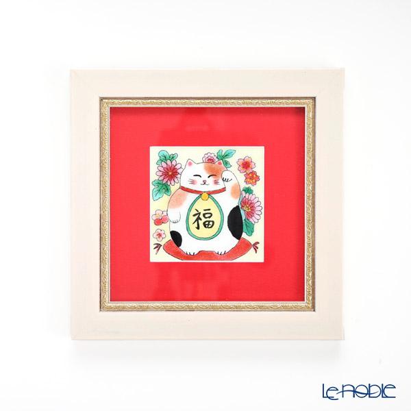 京七宝額(アートSHIPPO) 招き猫 額18×18cm ホワイト/レッド