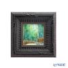 Enamel Cloisonne / Kyoto Shippo Art 'Kyoto Sagano Bamboo Forest Path' Panel / Plaque 16.5x16.5cm