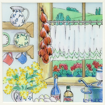 Enamel Cloisonne / Kyoto Shippo Art 'Country Kitchen' Panel / Plaque 26x26cm