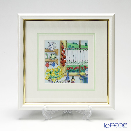 京七宝額(アートSHIPPO) カントリーキッチン 額パールホワイト 26×26cm