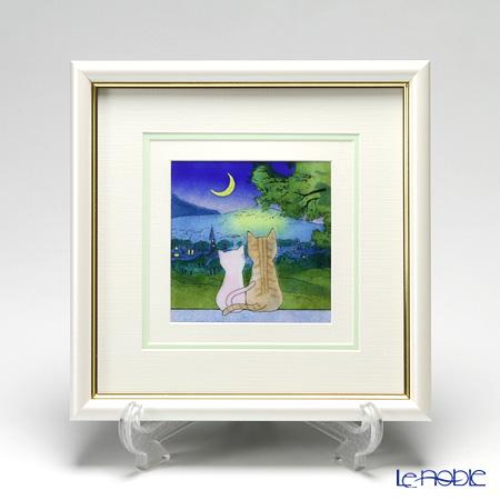 京七宝額(アートSHIPPO) 月夜の猫 額パールホワイト 25.8×25.8cm