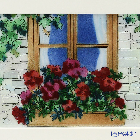 Enamel Cloisonne / Kyoto Shippo Art 'Flowers in Window' Panel / Plaque 28.5x23.5cm