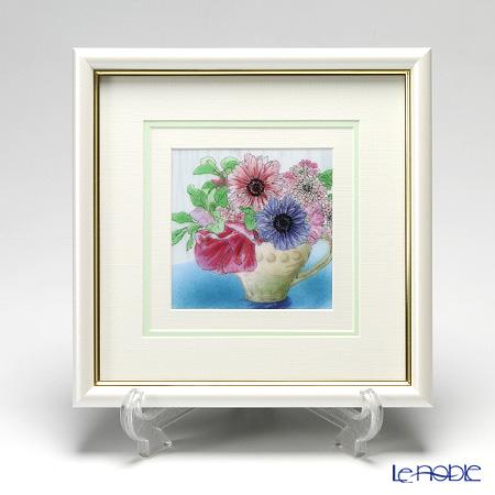 京七宝額(アートSHIPPO) カップフラワー 額パールホワイト 25.8×25.8cm