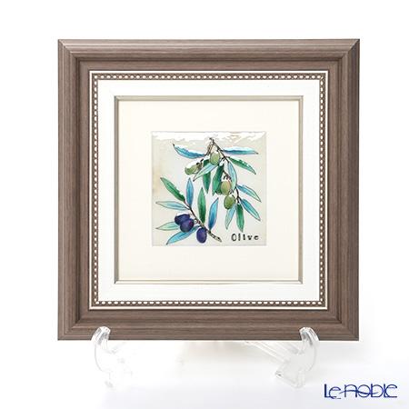 Enamel Cloisonne / Kyoto Shippo Art 'Olive' Panel / Plaque 25x25cm