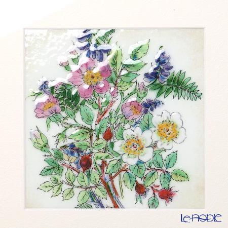 Enamel Cloisonne / Kyoto Shippo Art 'Japanese Rose Bouquet' Panel / Plaque 27x27cm