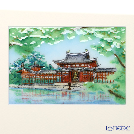 Enamel Cloisonne / Kyoto Shippo Art 'Byodoin with Tender Green' Panel / Plaque 29.5x24cm