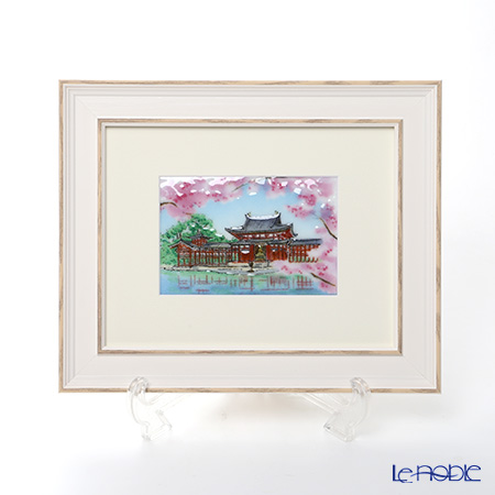 Enamel Cloisonne / Kyoto Shippo Art 'Byodoin with Cherry Blossom' Panel / Plaque 29.5x24cm