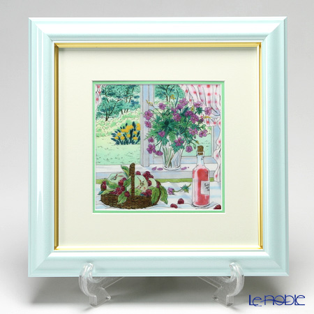 京七宝額(アートSHIPPO) 窓辺のワイン 額パールライトブルー 29.5×29.5cm