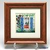 Enamel Cloisonne / Kyoto Shippo Art 'Blue Door' Panel / Plaque 32.5x32.5cm