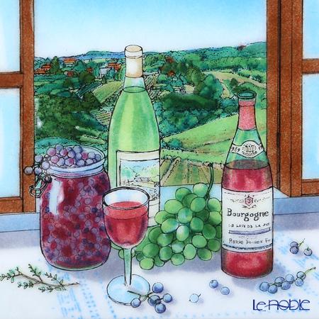 Enamel Cloisonne / Kyoto Shippo Art 'Burgundy Wine' Panel / Plaque 32.5x32.5cm