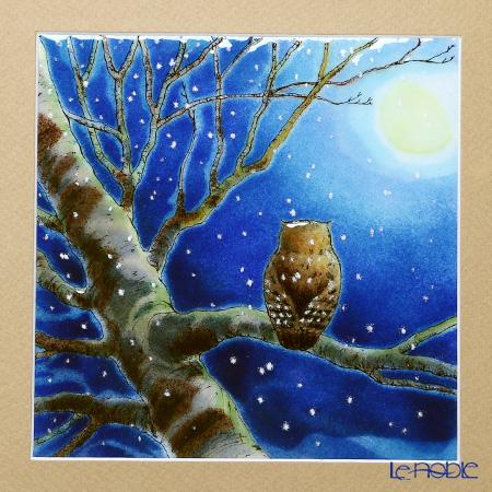 Enamel Cloisonne (art SHIPPO) -See the owls 32 x 32 cm beige mat