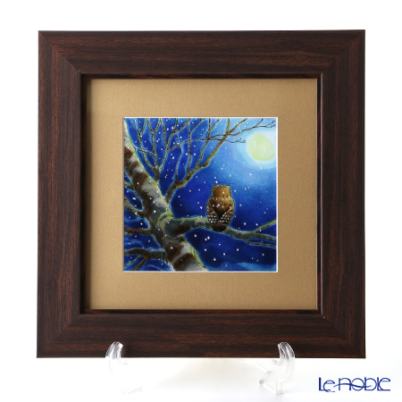 Enamel Cloisonne / Kyoto Shippo Art 'Owl and Moon' Panel / Plaque 31.5x31.5cm