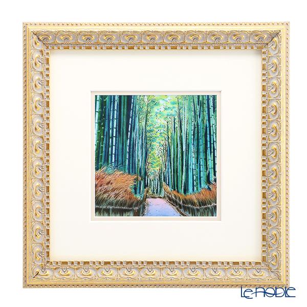 京七宝額(アートSHIPPO) 京都 嵯峨野の竹林 額 32.7×32.7cm 金・ガラス 七宝焼