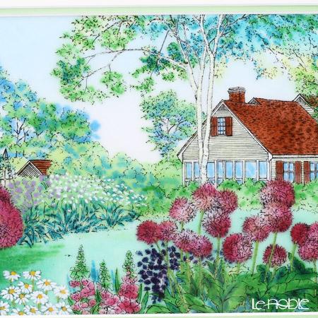 Enamel Cloisonne / Kyoto Shippo Art 'Allium Garden' Panel / Plaque 40.5x33.5cm